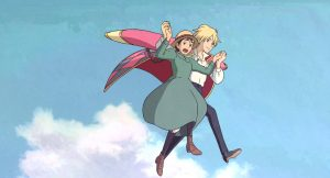 Howl's Moving Castle Howl and Sophie Flying