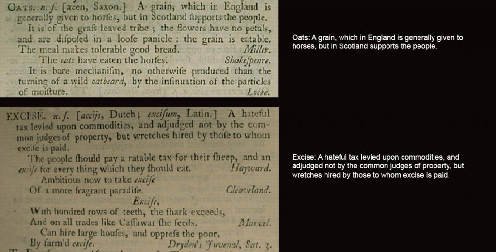 Samuel Johnson's Dictionary Definitions for Oats and Excise
