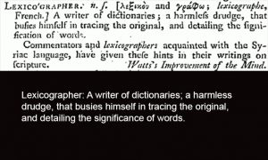 Samuel Johnson's Dictionary Lexicographer Definition