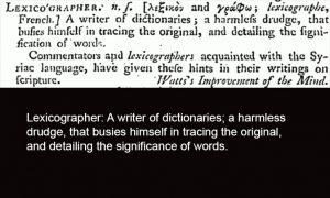 Johnson's Lexicographer Definition